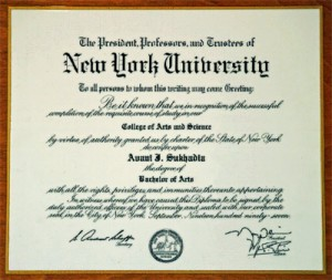University Certificate of Avani Sukhadia